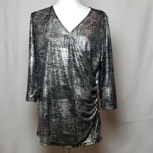 Torrid Silver Metallic and Black Blouse